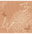 Background with flowers dahlia and butterflies vector