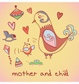 Mother and child birds vector