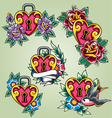 Bird heart and rose tattoo set vector