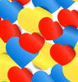 Colorful paper hearts seamless background vector