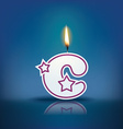 Candle letter c with flame vector