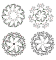 Circle ornaments floral set - hand drawn vector