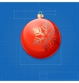 Christmas ball symbol like blueprint drawing vector