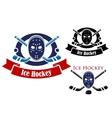 Ice hockey symbols set vector