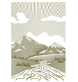 Woodcut mountain stream vector