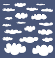White clouds on dark navy blue sky background set vector