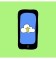 Doodle style phone with cloud uploading vector