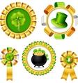Award ribbons with saint patricks day objects vector