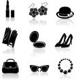 Woman accessories black icon set vector