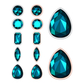 Set of five forms of dark green gemstone cut vector