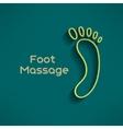 Bright foot massage sign and logo on dark green vector