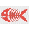 Knitted pattern with fish skeleton vector