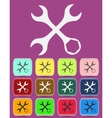 Settings wrench icon with color variations vector