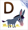 Animal alphabet for the kids d for the donkey vector