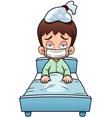 Sick boy cartoon vector