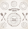 Ethnic arrows round frames and page dividers vector