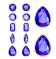 Set of five forms of violet gemstone vector