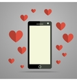 Modern mobile phone with heart vector