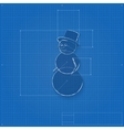 Snowman symbol drawn as blueprint vector