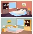 Cartoon bedroom apartment livingroom interior vector