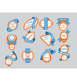 Orange labels with blue ribbons vector