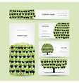 Set of cards green tree made from floral pots vector