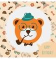 Hipster bear head card vector