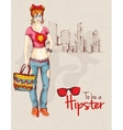 Hipster girl city vector