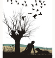 Man and dog in nature vector