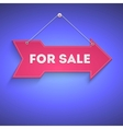 For sale bright arrow hanging on the wall vector