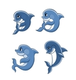 Cartoon dolphin calves set vector