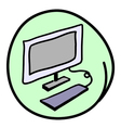 The computer workstation on round green background vector