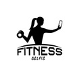 Woman of fitness silhouette character make selfie vector