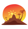 Island sunset vector