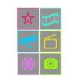 Set of flat neon colored cinema icons vector