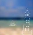 Lighthouse sailboat island ocean on seascape vector