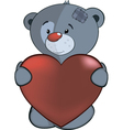 The stuffed toy bear cub and red heart cartoon vector