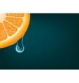 Flowing down drop on an orange segment background vector