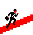 A man running up the stairs with a briefc vector