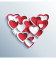 Valentines day card with red and white 3d hearts vector