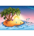 Treasure island in the ocean and vector