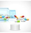 Medicine capsule in bottle vector