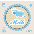 Milk label with cow - vector