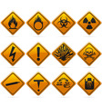 Glossy diamond hazard signs vector
