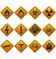 Glossy diamond hazard signs vector