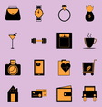 Adult lifestyle black and orange color icons vector