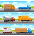 Realistic truck icons on road vector