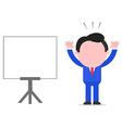 Businessman raising hands beside chart vector