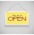 Open hanging sign vector