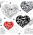 Black and white ornamental hearts pattern vector